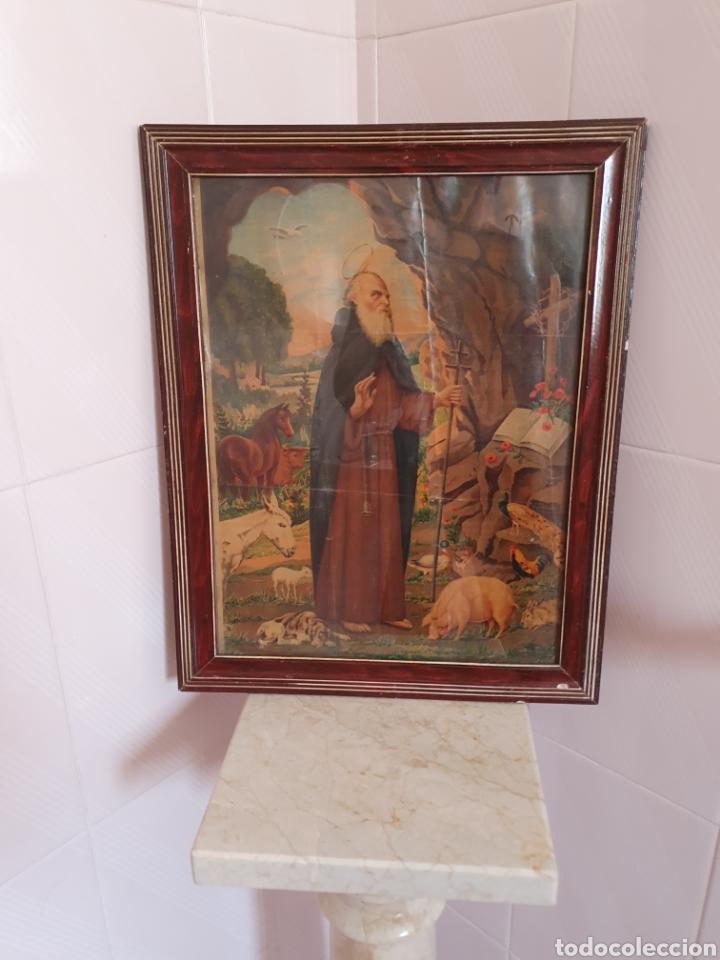 PRECIOSA Y ANTIGUA LITOGRAFÍA DE SAN ANTON PATRÓN DE LOS ANIMALES (Arte - Arte Religioso - Litografías)