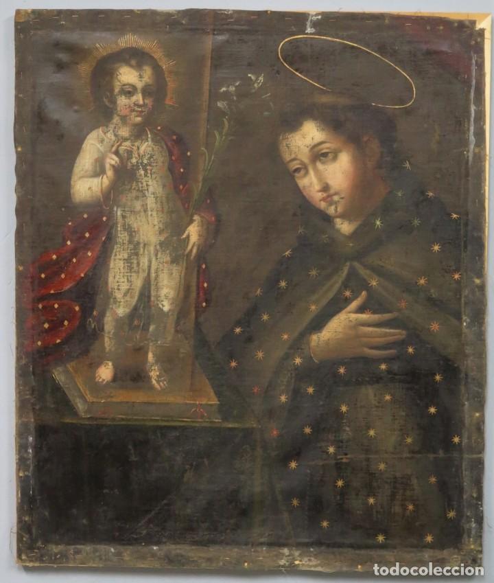 APARICION DEL NIÑO JESUS A SAN ANTONIO. OLEO S/ LIENZO Y PAN DE ORO. ESCUELA VIRREINAL. S. XVII (Arte - Arte Religioso - Pintura Religiosa - Oleo)