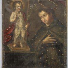 Arte: APARICION DEL NIÑO JESUS A SAN ANTONIO. OLEO S/ LIENZO Y PAN DE ORO. ESCUELA VIRREINAL. S. XVII. Lote 209310522