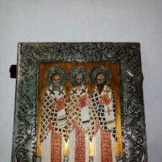 Arte: FIGURA RELIGIOSA DE MADERA Y ESTAÑO. Lote 209362701