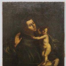 Arte: APARICION DE NIÑO JESUS A SAN ANTONIO. OLEO S/ LIENZO. ESCUELA ESPAÑOLA. SIGLO XVII. Lote 209571825