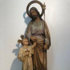 Arte: SAN JOSE CON NIÑO JESUS ANTIGUO DE ESTUCO OJOS DE CRISTAL, MODELO OLOT 56CM.. Lote 209680171