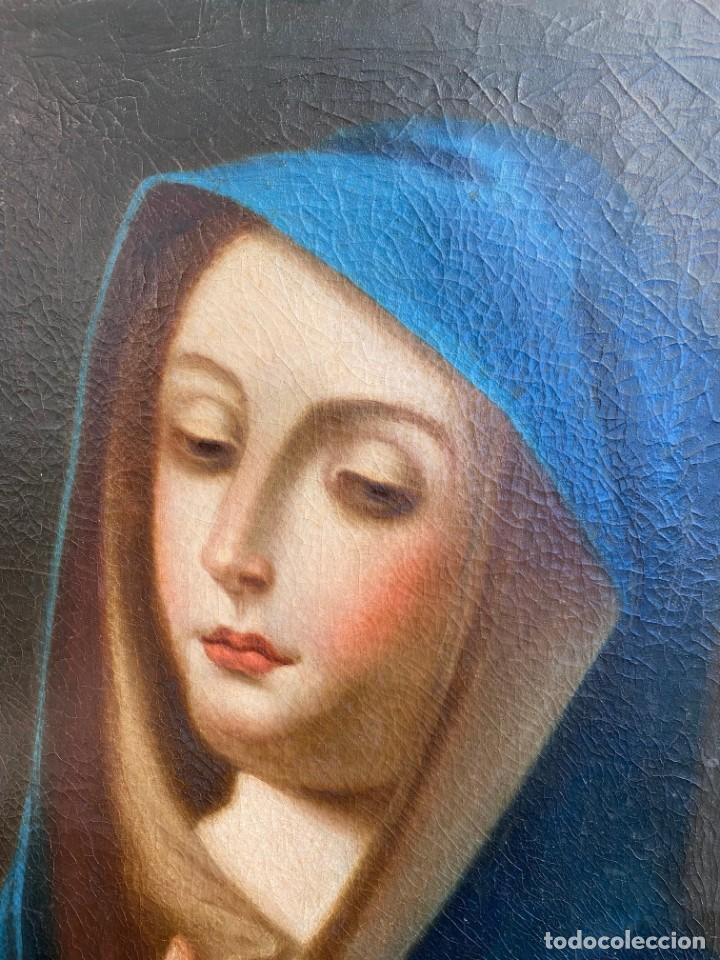 Arte: Cuadro Virgen Dolorosa en óleo sobre lienzo. S. XVIII - Foto 11 - 71055441