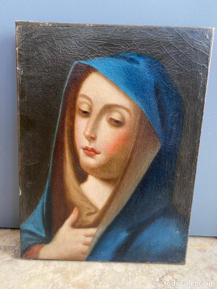 Arte: Cuadro Virgen Dolorosa en óleo sobre lienzo. S. XVIII - Foto 12 - 71055441