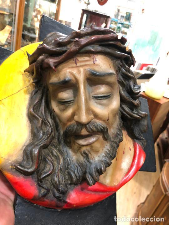 Arte: ANTIGUO BUSTO CRISTO TIPO OLOT - MEDIDA 37X37 CM - RELIGIOSO - Foto 4 - 209738455