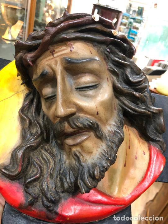 Arte: ANTIGUO BUSTO CRISTO TIPO OLOT - MEDIDA 37X37 CM - RELIGIOSO - Foto 6 - 209738455