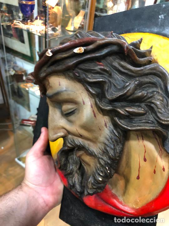 Arte: ANTIGUO BUSTO CRISTO TIPO OLOT - MEDIDA 37X37 CM - RELIGIOSO - Foto 7 - 209738455