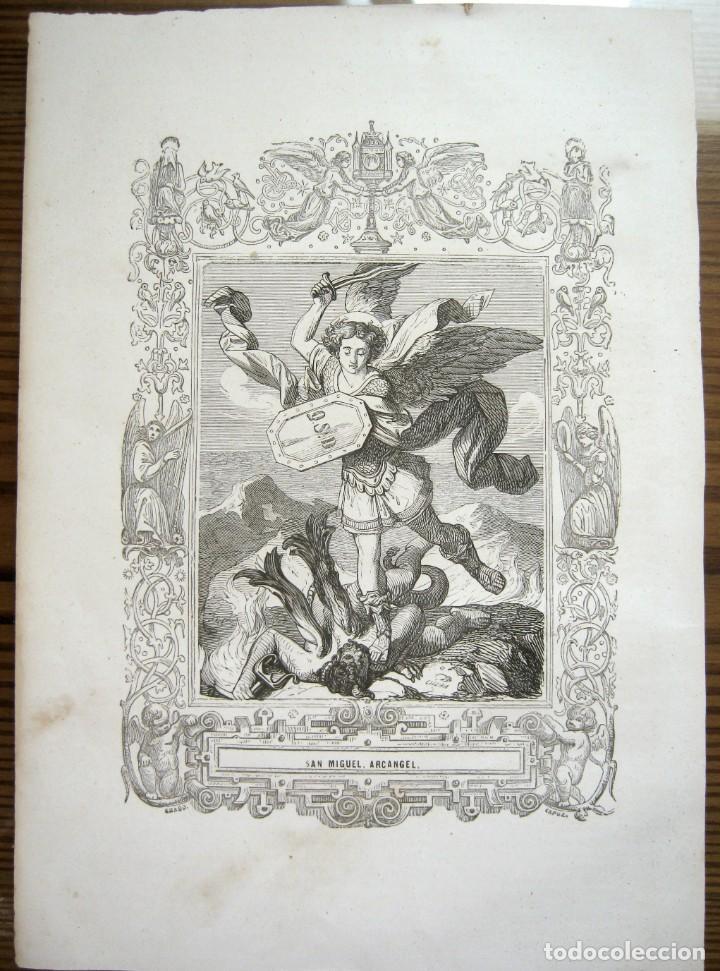 Arte: c. 1850 . Bello Grabado litografico SAN MIGUEL ARCANGEL - Foto 8 - 209744061