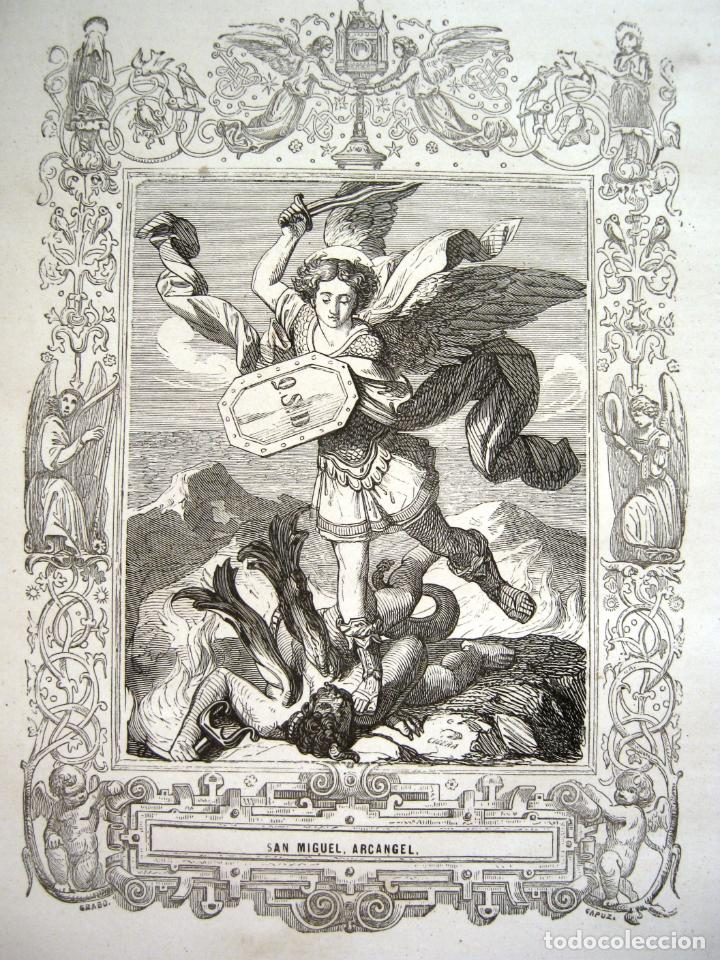C. 1850 . BELLO GRABADO LITOGRAFICO SAN MIGUEL ARCANGEL (Arte - Arte Religioso - Grabados)
