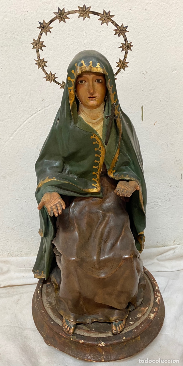 Arte: Antigua cap i pota especial con corona y espada de plata. Telas encolada. Virgen.53 cm alto.Dolorosa - Foto 2 - 137673682