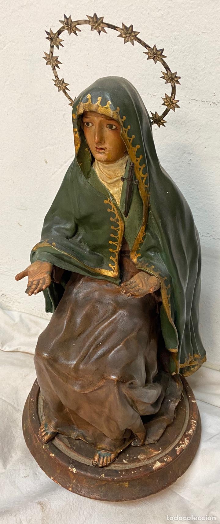 ANTIGUA CAP I POTA ESPECIAL CON CORONA Y ESPADA DE PLATA. TELAS ENCOLADA. VIRGEN.53 CM ALTO.DOLOROSA (Arte - Arte Religioso - Escultura)