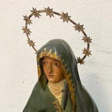 Arte: ANTIGUA CAP I POTA ESPECIAL CON CORONA Y ESPADA DE PLATA. TELAS ENCOLADA. VIRGEN.53 CM ALTO.DOLOROSA. Lote 137673682