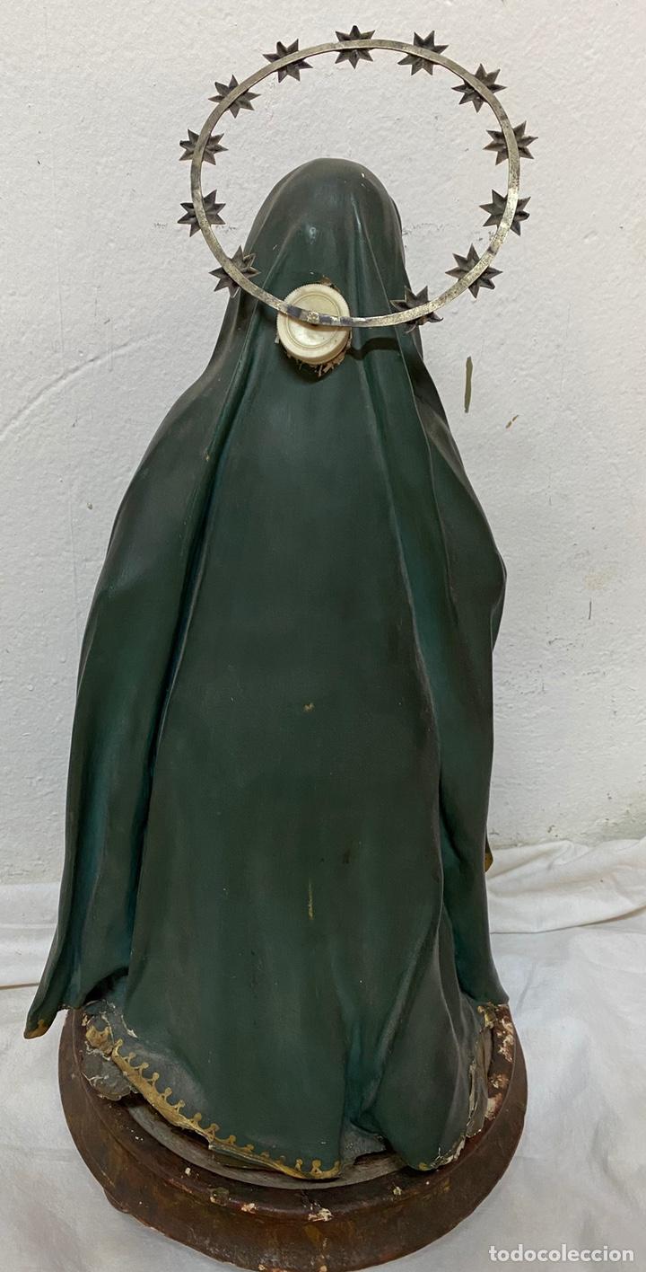 Arte: Antigua cap i pota especial con corona y espada de plata. Telas encolada. Virgen.53 cm alto.Dolorosa - Foto 3 - 137673682