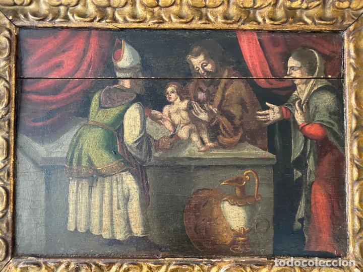Arte: circuncisión de jesus , óleo tabla del S. XVII o quizás anterior . escuela española - Foto 5 - 209832540