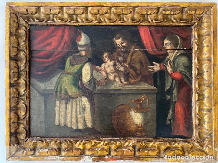 CIRCUNCISIÓN DE JESUS , ÓLEO TABLA DEL S. XVII O QUIZÁS ANTERIOR . ESCUELA ESPAÑOLA (Arte - Arte Religioso - Pintura Religiosa - Oleo)