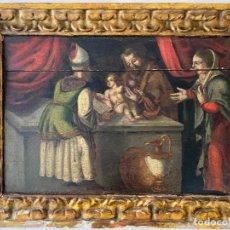 Arte: CIRCUNCISIÓN DE JESUS , ÓLEO TABLA DEL S. XVII O QUIZÁS ANTERIOR . ESCUELA ESPAÑOLA. Lote 209832540