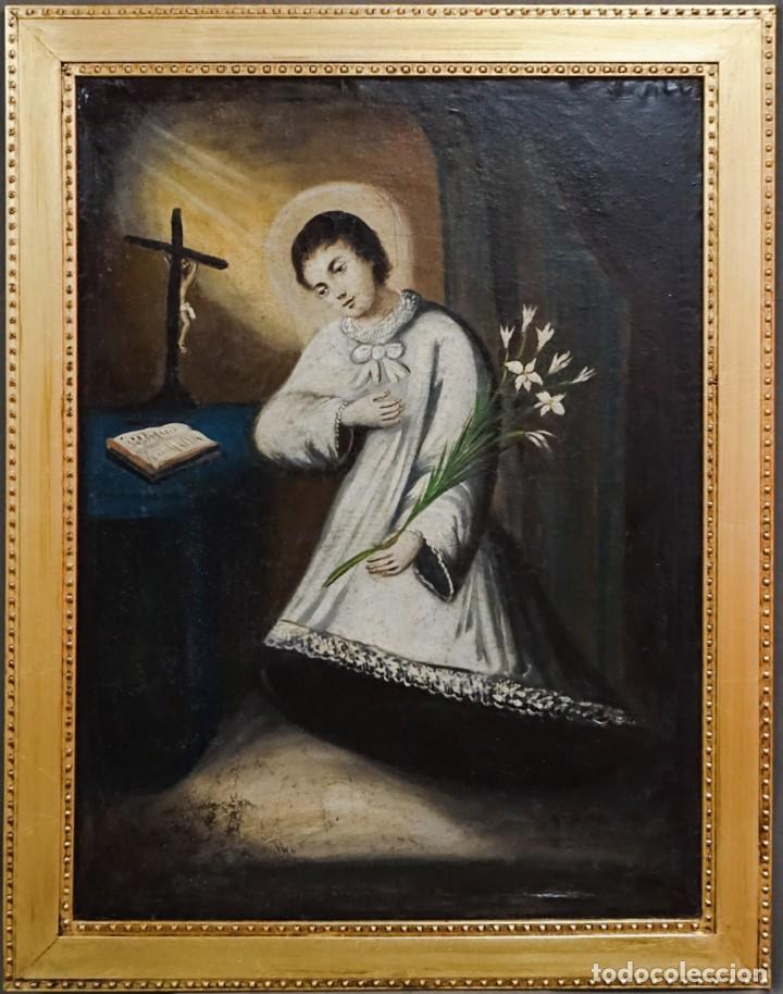SAN LUIS GONZAGA ÓLEO SOBRE LIENZO (Arte - Arte Religioso - Pintura Religiosa - Oleo)