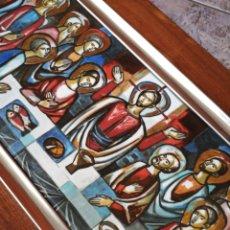 Arte: PRECIOSA SANTA CENA EN ESMALTE CON MARCO PLATA, SOBRE BASE DE MADERA, 50X22CM.. Lote 210035283