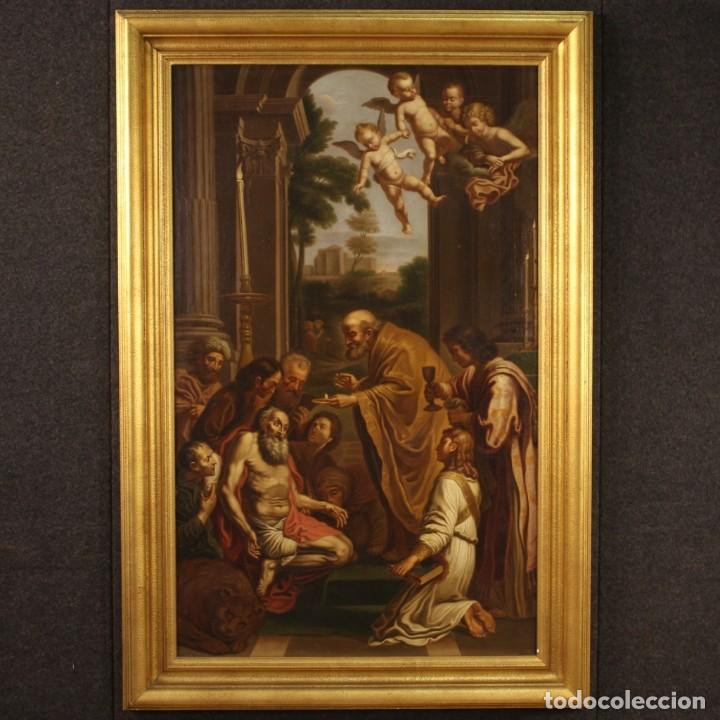PINTURA RELIGIOSA ITALIANA ANTIGUA SAN JERÓNIMO DEL SIGLO XIX (Arte - Arte Religioso - Pintura Religiosa - Oleo)