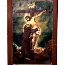 Arte: CRISTO ABRAZANDO A SAN FRANCISCO, OLÉO, 1902, PRECIOSO.. Lote 208428826