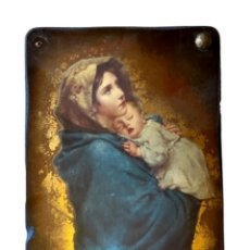 Arte: TABLA CON LAMINA DE VIRGEN CON EL NIÑO, PRECIOSA.. Lote 210177250