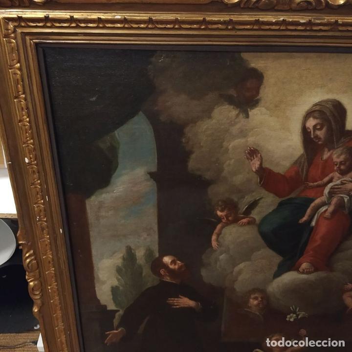 Arte: SAN IGNACIO DE LOYOLA Y LA VIRGEN MARIA. ÓLEO SOBRE LIENZO. ESPAÑA. SIGLO XVIII - Foto 5 - 210185686