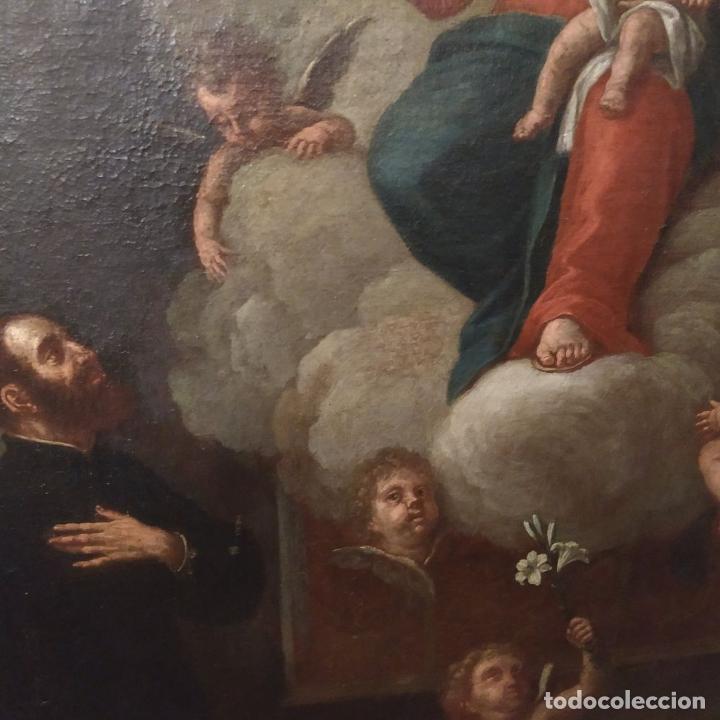 Arte: SAN IGNACIO DE LOYOLA Y LA VIRGEN MARIA. ÓLEO SOBRE LIENZO. ESPAÑA. SIGLO XVIII - Foto 12 - 210185686