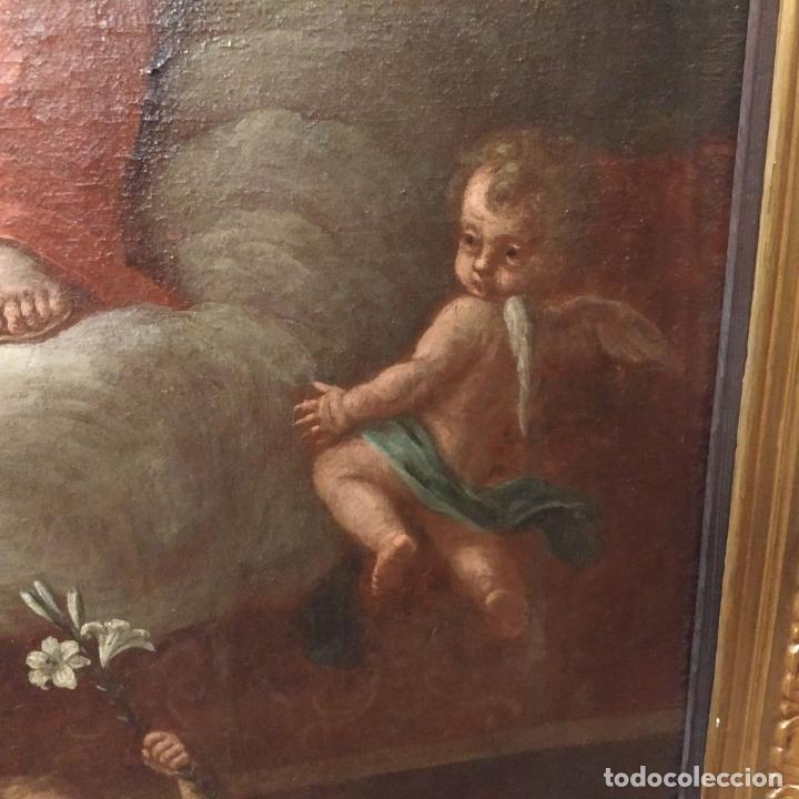 Arte: SAN IGNACIO DE LOYOLA Y LA VIRGEN MARIA. ÓLEO SOBRE LIENZO. ESPAÑA. SIGLO XVIII - Foto 13 - 210185686