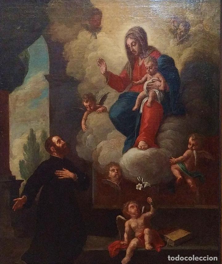 SAN IGNACIO DE LOYOLA Y LA VIRGEN MARIA. ÓLEO SOBRE LIENZO. ESPAÑA. SIGLO XVIII (Arte - Arte Religioso - Pintura Religiosa - Oleo)