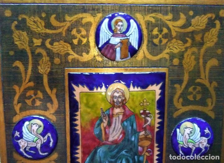 Arte: PRECIOSA TABLA RETABLO CON ESMALTES DEL PANTOCRATOR Y LOS SÍMBOLOS DE LOS EVANGELISTAS - Foto 3 - 210243650