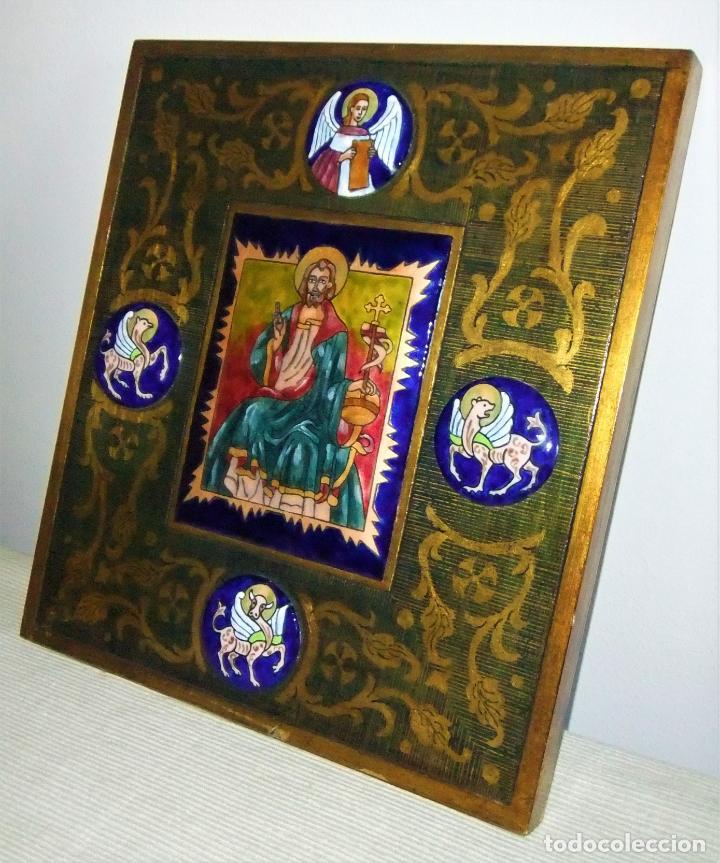 Arte: PRECIOSA TABLA RETABLO CON ESMALTES DEL PANTOCRATOR Y LOS SÍMBOLOS DE LOS EVANGELISTAS - Foto 4 - 210243650