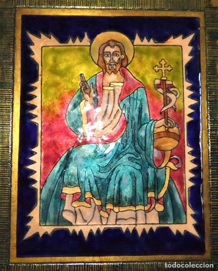 Arte: PRECIOSA TABLA RETABLO CON ESMALTES DEL PANTOCRATOR Y LOS SÍMBOLOS DE LOS EVANGELISTAS - Foto 5 - 210243650