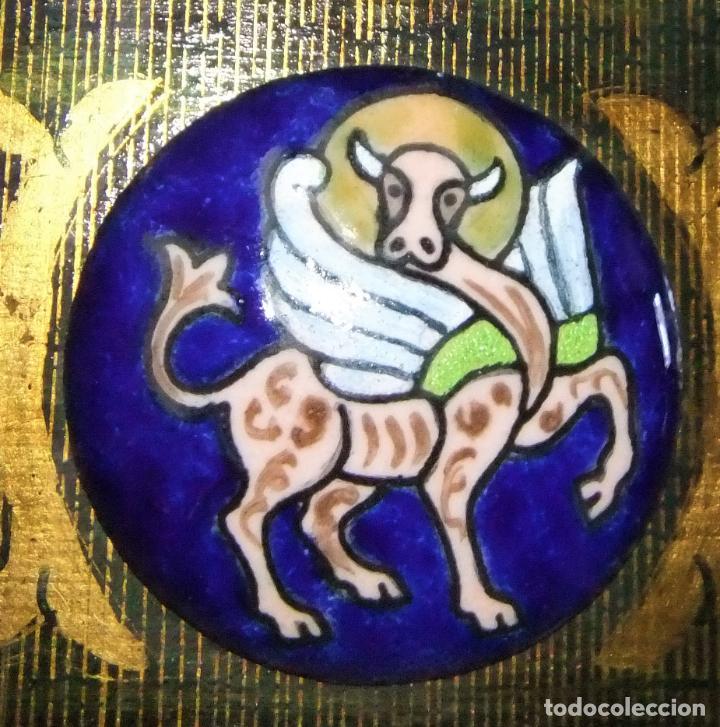 Arte: PRECIOSA TABLA RETABLO CON ESMALTES DEL PANTOCRATOR Y LOS SÍMBOLOS DE LOS EVANGELISTAS - Foto 9 - 210243650