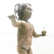 Arte: 46 CM . PRECIOSA TALLA DE MADERA ANTIGUA - NIÑO JESUS DESNUDO CON OJOS DE VIDRIO - S.XVIII XIX. Lote 210376280