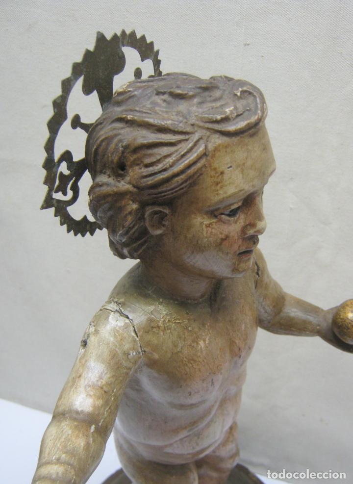 Arte: 46 cm . Preciosa talla de madera antigua - Niño Jesus desnudo con ojos de vidrio - s.XVIII XIX - Foto 2 - 210376280