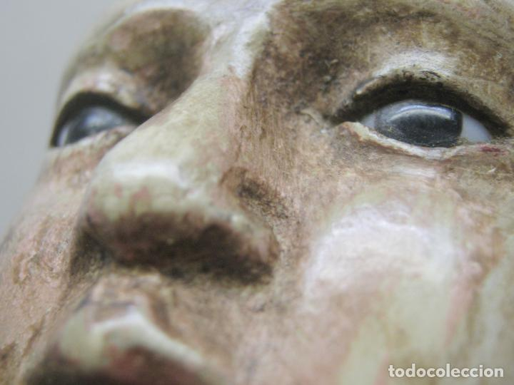Arte: 46 cm . Preciosa talla de madera antigua - Niño Jesus desnudo con ojos de vidrio - s.XVIII XIX - Foto 4 - 210376280