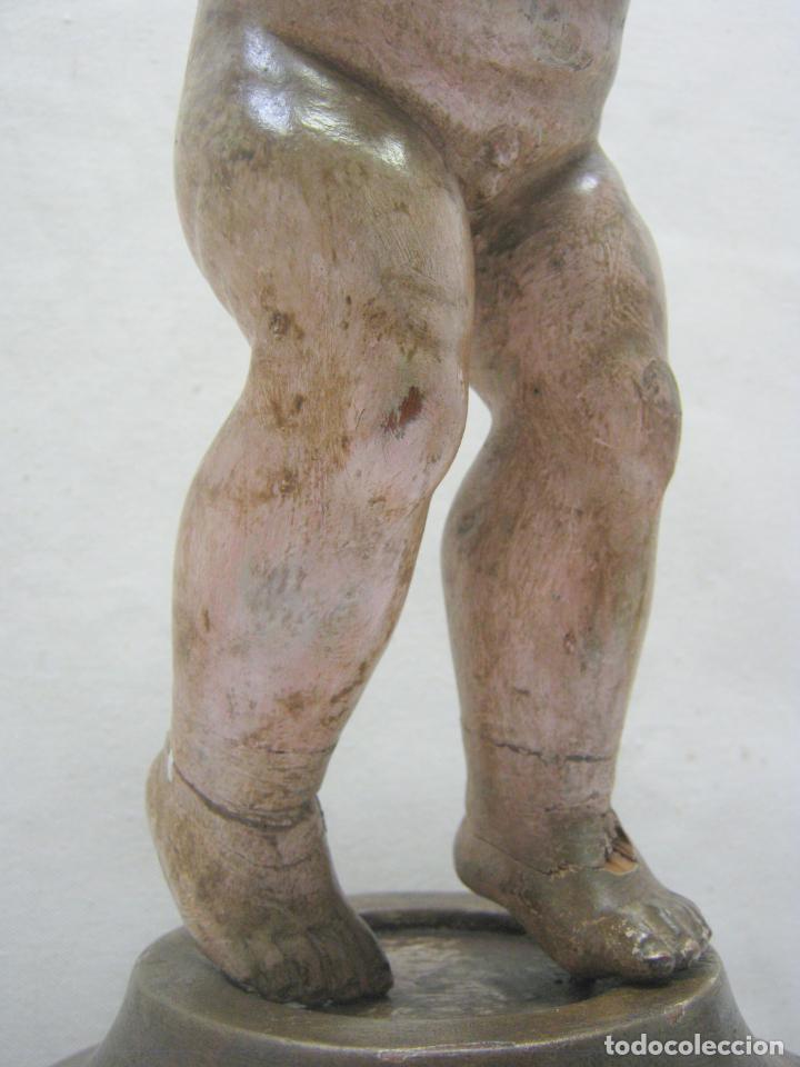 Arte: 46 cm . Preciosa talla de madera antigua - Niño Jesus desnudo con ojos de vidrio - s.XVIII XIX - Foto 5 - 210376280