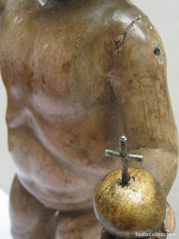 Arte: 46 cm . Preciosa talla de madera antigua - Niño Jesus desnudo con ojos de vidrio - s.XVIII XIX - Foto 7 - 210376280