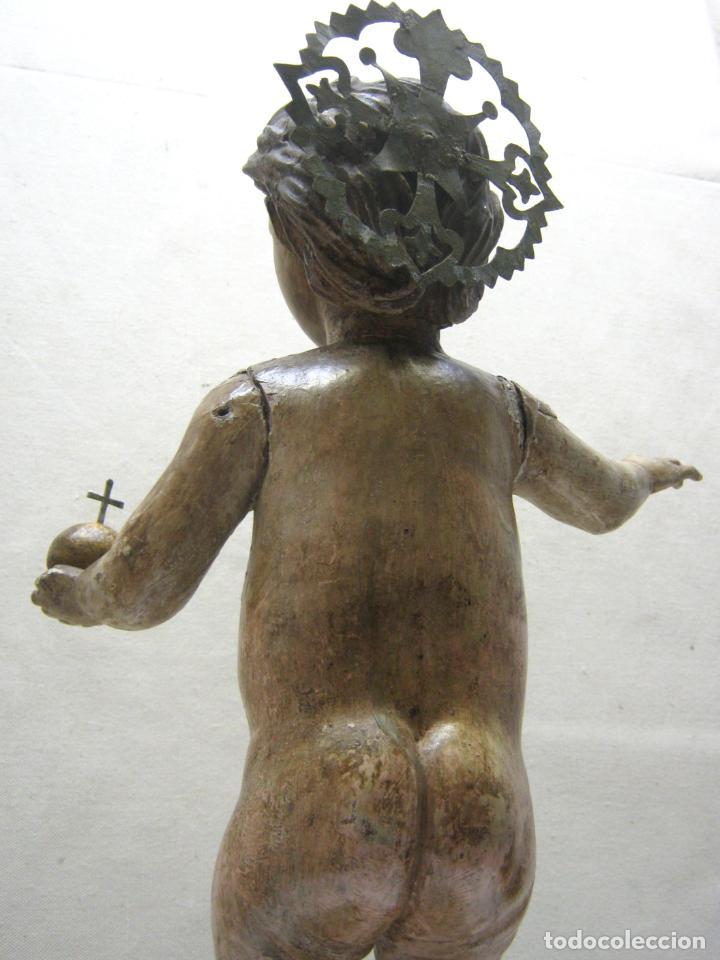 Arte: 46 cm . Preciosa talla de madera antigua - Niño Jesus desnudo con ojos de vidrio - s.XVIII XIX - Foto 8 - 210376280