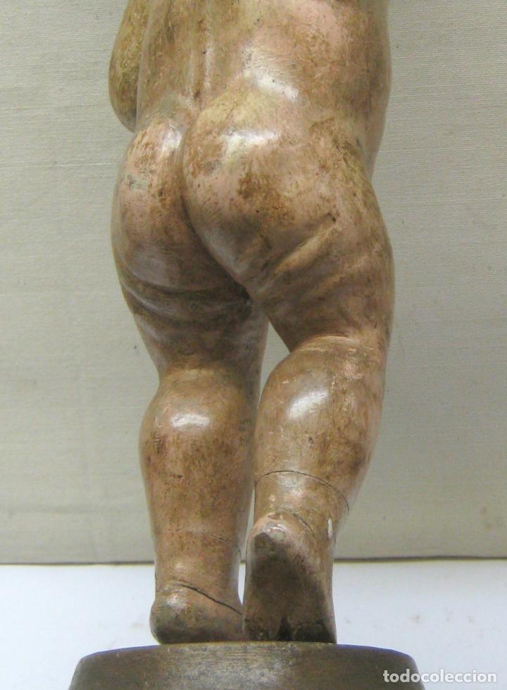 Arte: 46 cm . Preciosa talla de madera antigua - Niño Jesus desnudo con ojos de vidrio - s.XVIII XIX - Foto 9 - 210376280