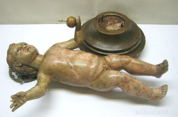 Arte: 46 cm . Preciosa talla de madera antigua - Niño Jesus desnudo con ojos de vidrio - s.XVIII XIX - Foto 12 - 210376280