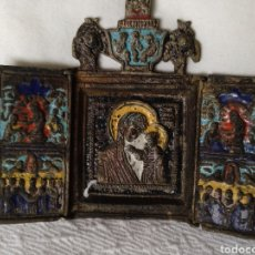 Arte: TRÍPTICO RELIGIOSO EN BRONCE ESMALTADO. Lote 210413550