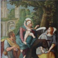 Arte: LA HUIDA A EGIPTO DE LA SAGRADA FAMILIA. ÓLEO SOBRE COBRE. ITALIA S. XVI. MEDIDAS DE 33 X 24 CM.. Lote 210423861