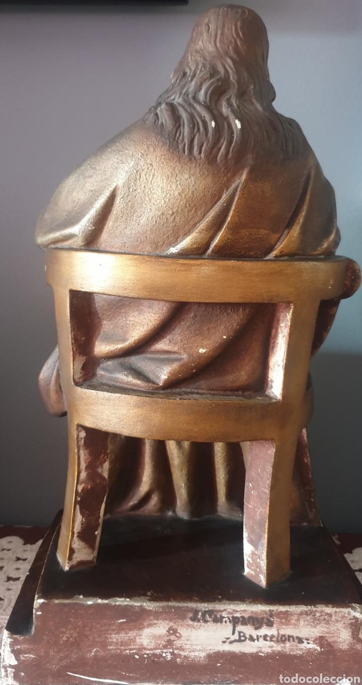 Arte: Gran Sagrado Corazón Sedente - J.Campanyà Barcelona.Pasta de Madera.ojos Cristal.Firmado.45CM. - Foto 4 - 210375220