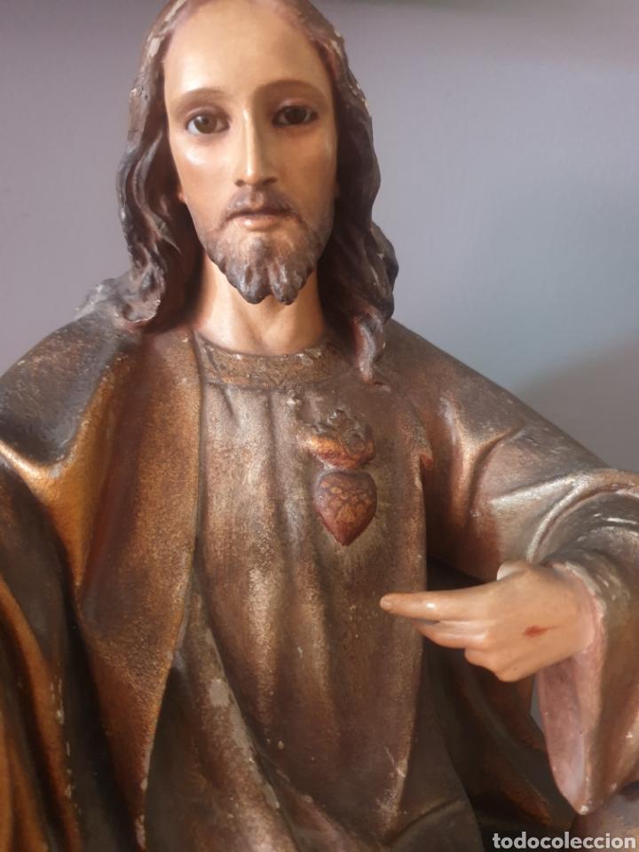 Arte: Gran Sagrado Corazón Sedente - J.Campanyà Barcelona.Pasta de Madera.ojos Cristal.Firmado.45CM. - Foto 5 - 210375220