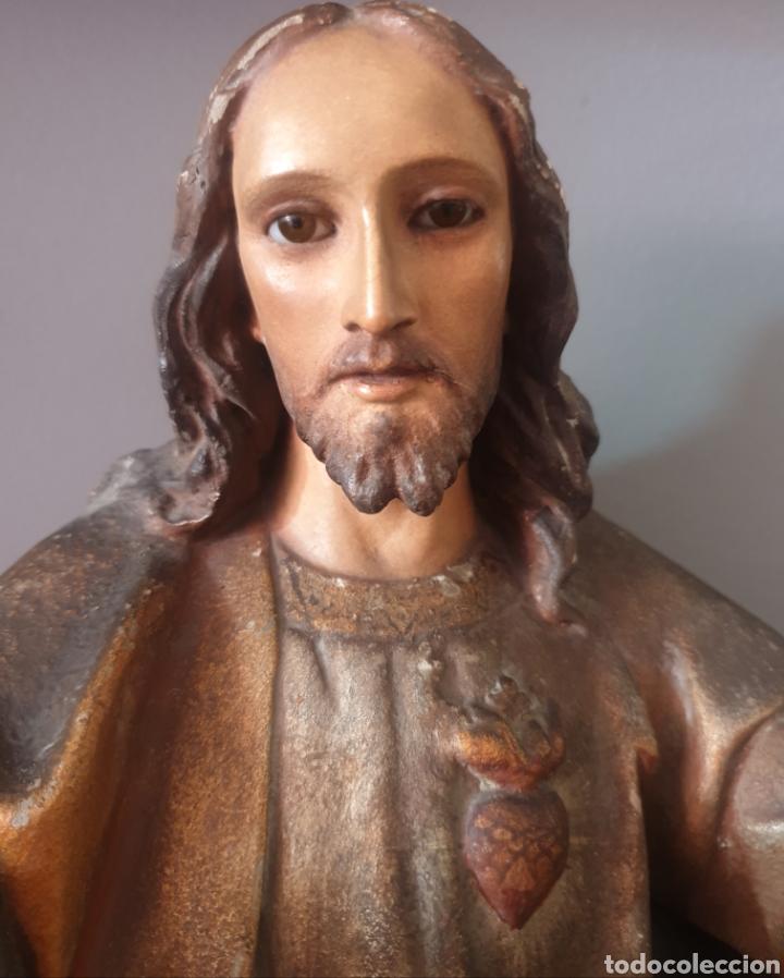 Arte: Gran Sagrado Corazón Sedente - J.Campanyà Barcelona.Pasta de Madera.ojos Cristal.Firmado.45CM. - Foto 6 - 210375220