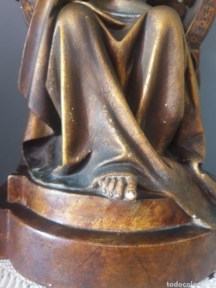 Arte: Gran Sagrado Corazón Sedente - J.Campanyà Barcelona.Pasta de Madera.ojos Cristal.Firmado.45CM. - Foto 7 - 210375220