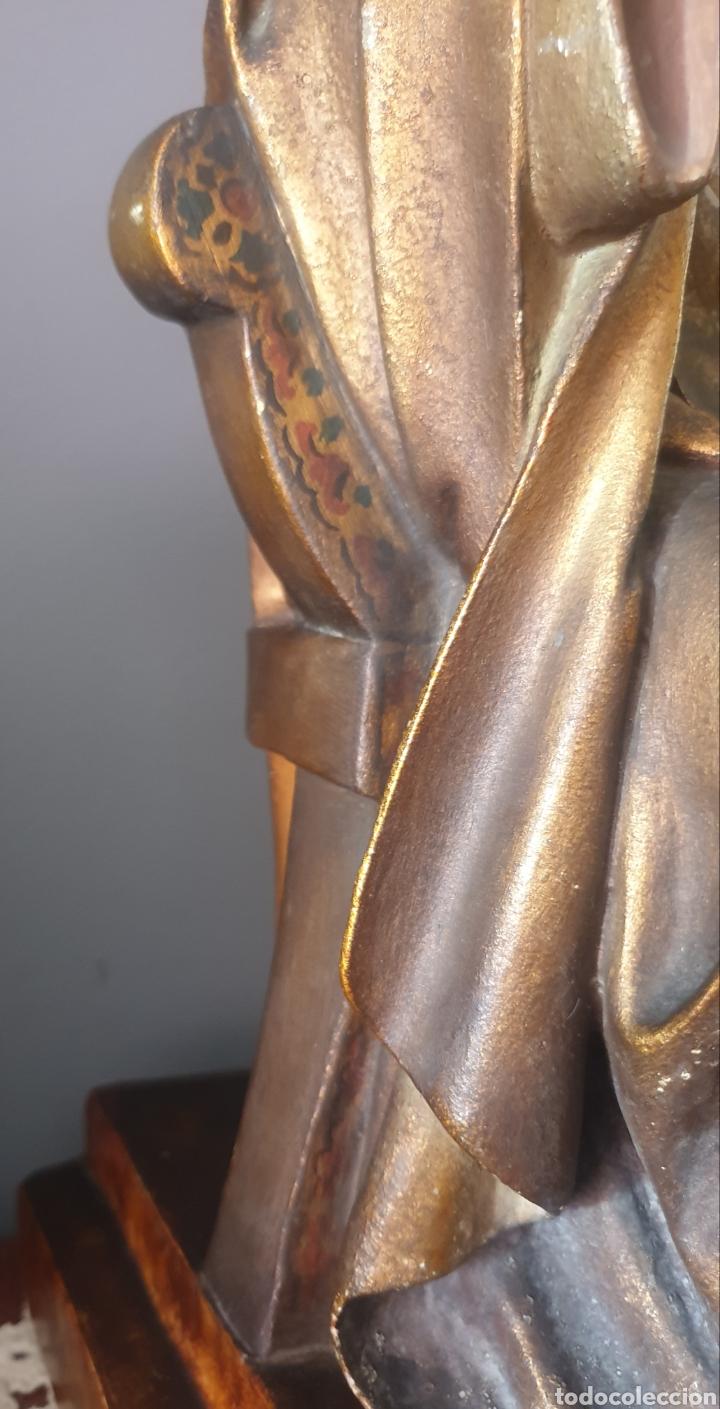 Arte: Gran Sagrado Corazón Sedente - J.Campanyà Barcelona.Pasta de Madera.ojos Cristal.Firmado.45CM. - Foto 9 - 210375220