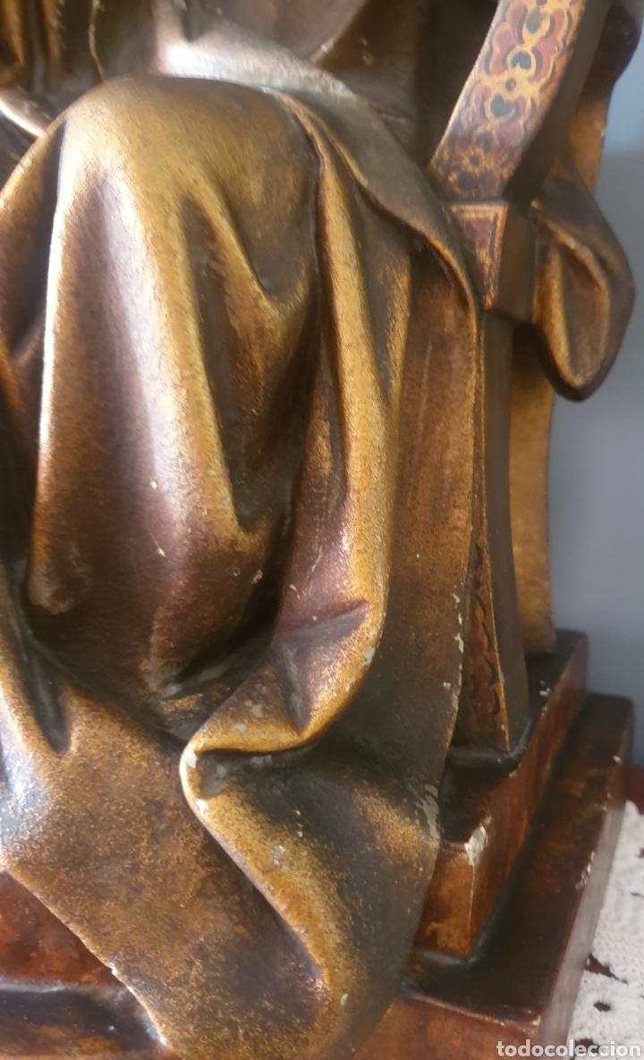 Arte: Gran Sagrado Corazón Sedente - J.Campanyà Barcelona.Pasta de Madera.ojos Cristal.Firmado.45CM. - Foto 10 - 210375220