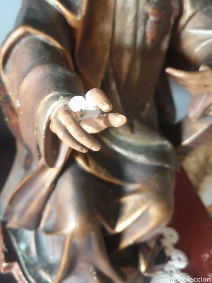 Arte: Gran Sagrado Corazón Sedente - J.Campanyà Barcelona.Pasta de Madera.ojos Cristal.Firmado.45CM. - Foto 11 - 210375220